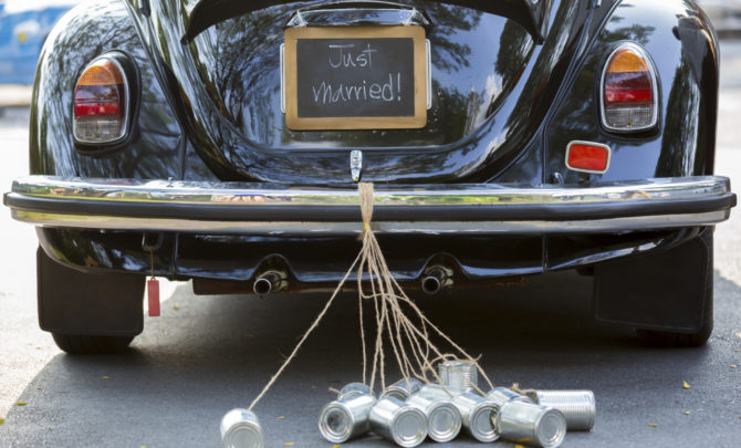 Just married sign and cans attached